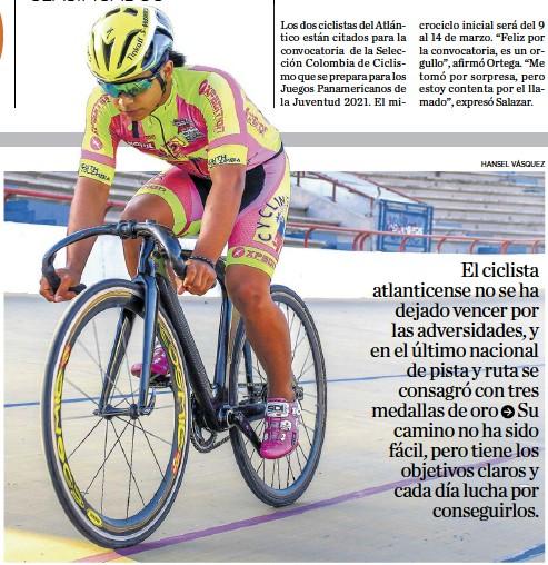 ?? HANSEL VÁSQUEZ ?? El pedalista entrena nueve veces por semana en el Velódromo de Barranquilla con el FX Cicling Team.