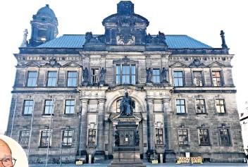 ?? FOTOS (2): WINFRIED MAHR ?? Das Oberlandesgericht verhandelte im Ständehaus Dresden über die Musterfeststellungsklage der Verbraucherzentrale gegen die Sparkasse Leipzig. Gerhard Schechinger (kleines Foto) war mit dem Urteil sehr zufrieden.