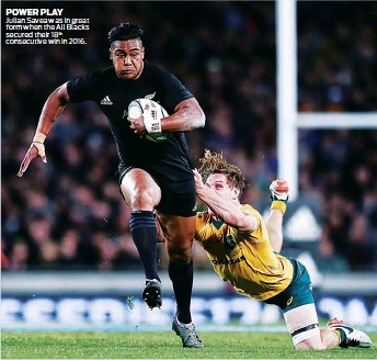 ??  ?? POWER PLAY Julian Savea was in great form when the All Blacks secured their 18th consecutive win in 2016.