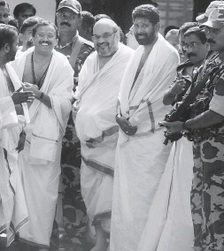 ?? — PTI ?? BJP president Amit Shah after visiting the Sree Padmanabhaswamy temple in Thiruvananthapuram, Kerala, on Monday.