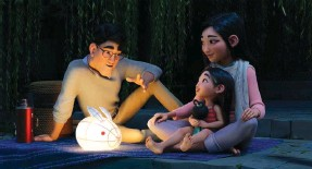 ??  ?? A scene from 'Over The Moon' – (Left to right) 'Father' (voiced by John Cho), 'Fei Fei' (voiced by Cathy Ang) and 'Mother' (voiced by Ruthie Ann Miles). (Netflix)