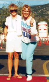 ??  ?? FAR LEFT Ron Zalco helps an athlete finsih the1983 long course in Penticton LEFT Lynn Van Dove and Valerie Silk at the finish line of the first Ironman Canada, 1986 BELOW Loreen Barnett with Van Dove reminiscing about the early days of Ironman