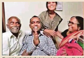 ?? Screen captured from Youtube ?? The ecstatic Ranjit with his family when he was declared the winner of the Global Teacher Prize 2020.