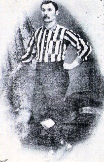 ??  ?? Brodie in his playing days in the red and white stripes of the early Wanderers