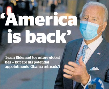 ?? Photo / AP ?? US President-elect Joe Biden addresses media from his home town in Wilmington, Delaware.