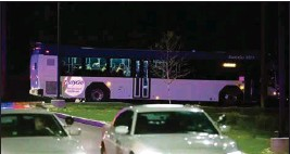 ?? PTI ?? A bus transports people from the scene of a shooting at the FedEx Ground facility in Indianapolis