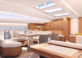 ??  ?? The galley is positioned forward, with hull windows in the saloon and all cabins