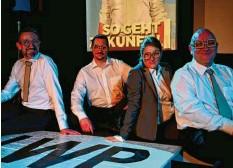 """?? Foto: Sensemble Theater ?? Jörg Schur (von links), Florian Fisch, Daniela Nering und Winnie Gropper liefern sich für das Sensemble eine """"Wahlschlacht""""."""