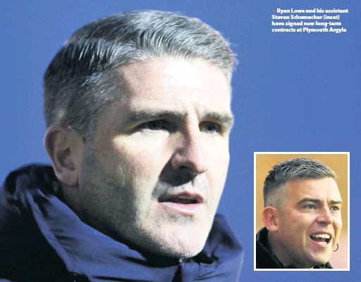 ?? Photos: Dave Rowntree and Dave Crawford/PPAUK ?? > Ryan Lowe and his assistant Steven Schumacher (inset) have signed new long-term contracts at Plymouth Argyle