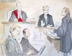 ?? ALEXANDRA NEWBOULD / THE CANADIAN PRESS ?? In this artist's sketch, Dellen Millard, left, appears in court in Toronto on Thursday for his judge-only trial.