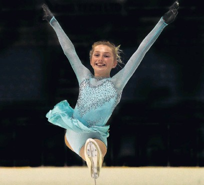 ?? PHOTO GREGOR RICHARDSON ?? Whizz on ice . . . Dunedin ice figure skater Brooke Cathro (11) prepares for the nationals, which will be staged at the Dunedin Ice Stadium this weekend.