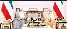 ?? KUNA photo ?? HH the Deputy Amir and the Crown Prince with Speaker Al-Ghanim.