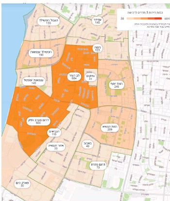 ??  ?? היצע דירות 3 חדרים בשכונות העיר בשנה האחרונה