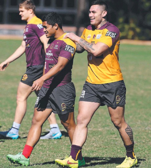 ??  ?? GOT YOUR BACK: Broncos stars Anthony Milford and Daniel Vidot are ready for Saturday night's game. Picture: Adam Head