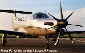 ??  ?? Pilatus PC-12 with the new 7-blade MT-Propeller