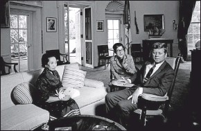 ?? SUPPLIED ?? US President John F Kennedy (right) meets with Princess Norodom Rasmi Sobbhana of Cambodia (left) in the Oval Office of the White House.