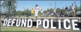 ?? MINNEAPOLIS STAR-TRIBUNE ?? Minneapolis City Council member Alondra Cano spoke in June at ameeting in Powderhorn Park. The council on Thursday voted to redirect money toward alternatives for reducing violence in thewake of the death of George Floyd.