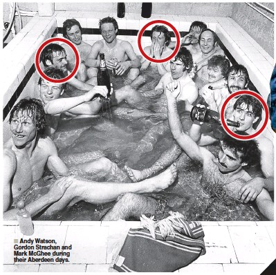 ??  ?? Andy Watson, Gordon Strachan and Mark McGhee during their Aberdeen days.
