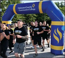?? SUBMITTED PHOTO ?? Municipal Police Academy cadets begin their final run before graduation at the Delaware County Community College Marple Campus.