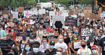 """?? JOSHUA L. JONES/USA TODAY NETWORK ?? People gather in downtown Athens, Ga., on Saturday for a """"Justice For Black Lives Rally"""" following the deaths of George Floyd, Breonna Taylor and Ahmaud Arbery. Similar rallies have swept across America."""