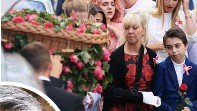 ??  ?? Saffie- Rose Roussos was the youngest of the 22 victims of the Manchester Arena attack. Her mother Lisa, pictured left at Saffie's funeral, was seriously wounded in the blast