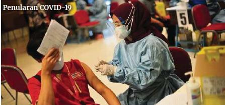 ?? (Foto AFP) ?? Petugas kesihatan menyuntik vaksin Sinovac di Semarang, Indonesia.