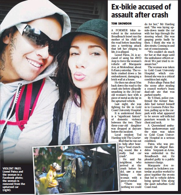 ??  ?? VIOLENT PAST: Lionel Patea and the woman in a Facebook photo; the woman is removed from the upturned car (right).