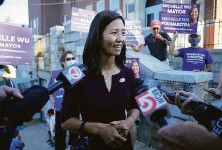 ?? Stew Milne / Associated Press ?? Mayoral candidate Michelle Wu will face Annissa Essaibi George Nov. 2 — a major shift from male-dominated politics.