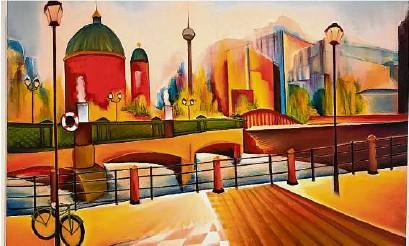 """??  ?? Mit Fernsehturm und Dom: Ein an einer Laterne abgestelltes Fahrrad ist der heimliche Mittelpunkt des Gemäldes """"Schlossplatz""""von Christin Lutze, gemalt 2016."""