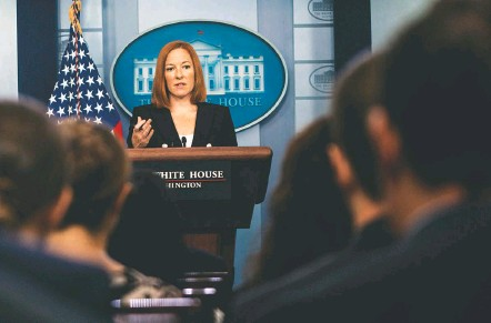 ?? DEMETRIUS FREEMAN/THE WASHINGTON POST ?? Press secretary Jen Psaki, above, said a White House staff member who tested positive for the coronavirus Monday remains off-site while awaiting additional tests. The individual did not have close contact with the president or other White House principals or staff, Psaki said.