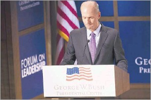 """?? Smiley N. Pool/staff Photographer ?? CEO Dennis Muilenburg discussed Boeing's recent airline crashes Thursday during the Bush Institute Leadership Forum. """"All of us feel the immense gravity of these events across our company,"""" he said"""