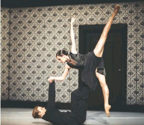 """?? RAHI REZVANI ?? TOP: For the beautiful drama """"Layla and Majnum,"""" the Mark Morris Dance Group shared the stage with Azerbaijani singers and musicians. ABOVE: Nederlands Dans Theater in """"Shoot the Moon,"""" engrossing domestic mini-dramas of unquiet desperation."""