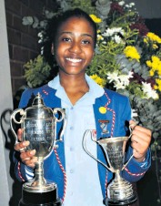 ??  ?? Wanele Mabaso shows off her trophies