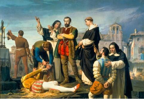??  ?? Exécution de Juan de Padilla et de ses comuneros, Juan Bravo et Francisco Maldonado, le 24 avril 1521, 1860, d'Antonio Gisbert Perez (1834-1901). Padilla (1490–1521) prit la tête du soulèvement des communes de Castille contre Charles Quint au début de son règne.
