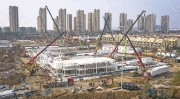 ?? GETTY IMAGES ?? Work continues Tuesday on one of two temporary hospitals in Wuhan, China, to deal with the outbreak.