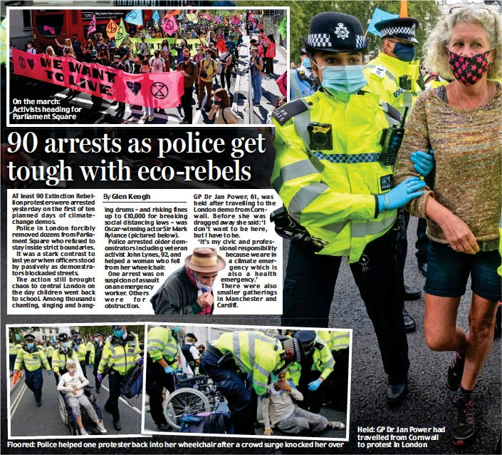 ??  ?? On the march: Activists heading for Parliament Square Floored: Police helped one protester back into her wheelchair after a crowd surge knocked her over Held: GP Dr Jan Power had travelled from Cornwall to protest in London