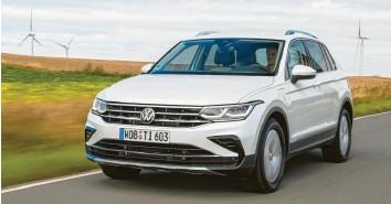 ?? Fotos: Volkswagen AG ?? Der Brave: Der neue VW Tiguan in der Version als Plug‰In‰Hybrid.