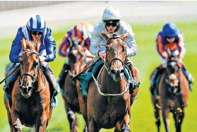 ??  ?? High hopes: Mark Johnston said he was delighted with Dubai Fountain's (centre) condition