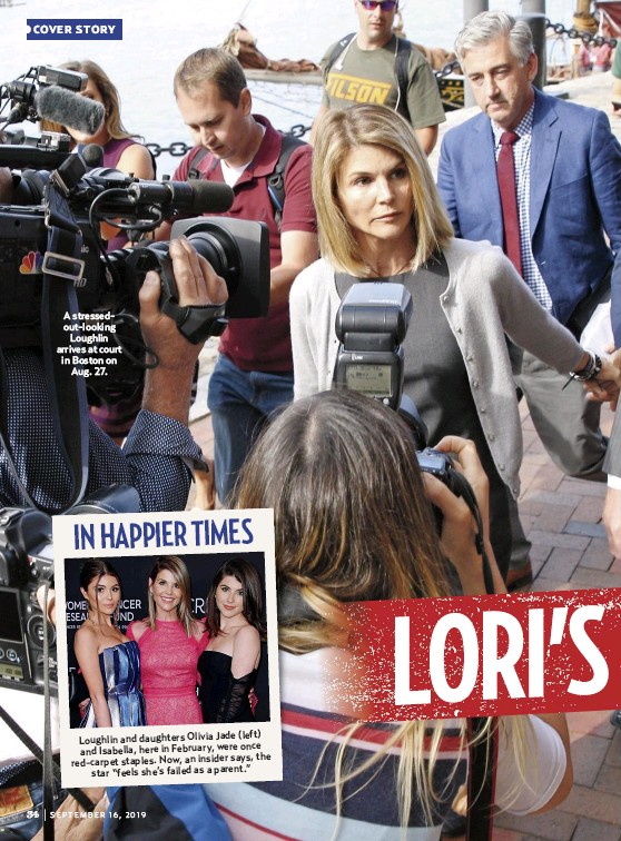 ??  ?? A stressedout-looking Loughlin arrives at court in Boston on Aug. 27.