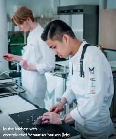 ??  ?? In the kitchen with commis chef Sebastian Skauen (left)