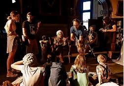 """?? Sharon Cantillon/Buffalo News ?? Matthew Nardone gives instructions during Friday's filming of """"Diary of a Lunatic"""" at Buffalo Seminary."""