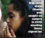 ??  ?? Wild child Malia Obama was caught on camera in 2016 smoking funny cigarettes