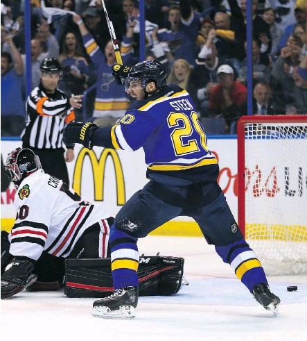 ?? DILIP VISHWANAT/GETTY IMAGES ?? Alexander Steen of the St. Louis Blues celebrates after the Blues scored a goal against the Chicago Blackhawks in Game 7 of their first-round series at the Scottrade Center on Monday night. The Blues won 3-2 to advance to the second round.