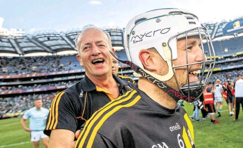 ?? PHOTOGRAPH: JAMES CROMBIE/INPHO ?? Michael Dempsey celebrates with Padraig Walsh after the semi-final against Limerick at Croke Park in 2019.