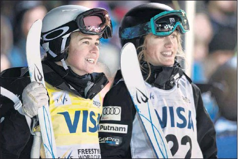 ??  ?? BEST IN THE BUSINESS: Mt Beauty mogul skier Britt Cox (left) has had a season to remember.