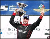 ??  ?? Will Power, of Australia, celebrates after winning the IndyCar Grand Prix auto race at Indianapolis Motor Speedway in Indianapolis on May 12. (AP)