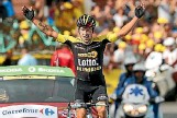 ?? PHOTO: GETTY IMAGES ?? Primoz Roglic of Slovenia celebrates as he wins stage 17 of the Tour de France.