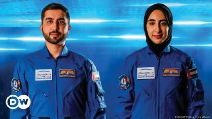 ??  ?? Newly named Emirati astronauts Mohammed Al-Mulla (L) and Noura Al-Matroushi (R)