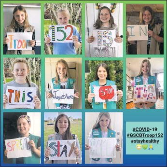 ?? BY DOUG BISHOP/DBISHOP@KIBAYTIMES.COM ?? Members of Girl Scout Troop 152 of Centreville, presented this virtual message about staying home to protect people during the pandemic. Girl Scouts have not been having in person troop meetings since the pandemic started last March, 2020.