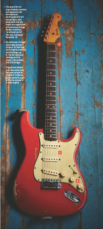 """??  ?? 1. The neck of the '61 original blends smoothly and organically into the headstock – recalling guitarist Jim Campilongo's pithy observation that this fragile but elegant point of transition on vintage Fenders resembles """"an old lady's wrist"""". The neck is stamped November '60 2. As mentioned, the neck and middle pickups of Gary's '61 Strat are not in original condition, but the bridge pup is. The DC resistance readings are 6.5k (neck), 5.9k (middle) and 5.3k (bridge) 3. Original and volume pots have either been replaced outright as needed or moved up by one slot to fill a gap left by the removal of a faulty original 1 2 3"""